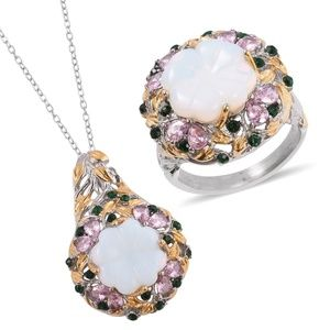 Jewelry - Floral Carved Opalite Ring and Pendant Set